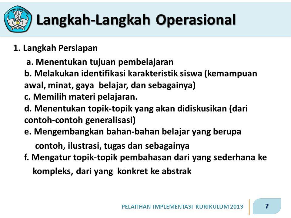 7 PELATIHAN IMPLEMENTASI KURIKULUM 2013 1.Langkah Persiapan a.