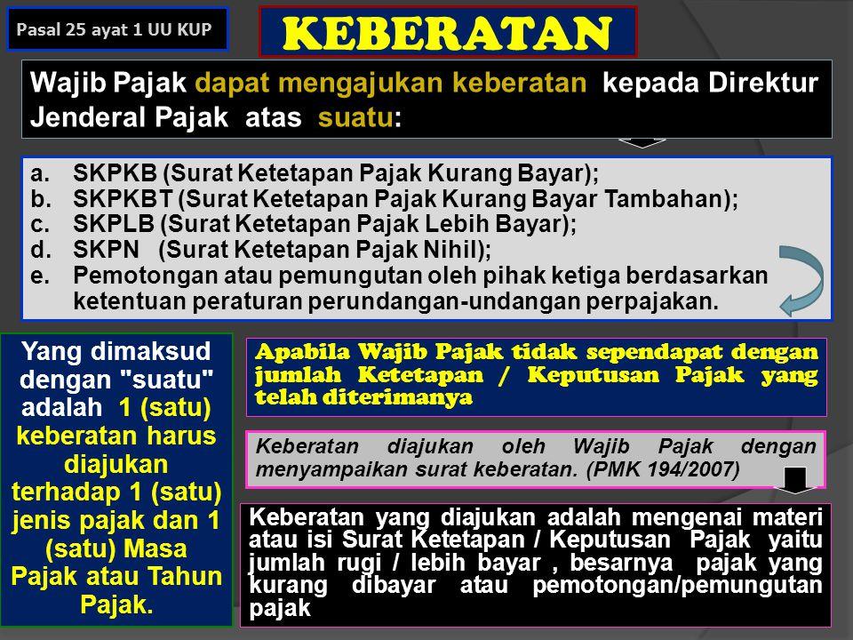 KEBERATAN a.SKPKB (Surat Ketetapan Pajak Kurang Bayar); b.SKPKBT (Surat Ketetapan Pajak Kurang Bayar Tambahan); c.SKPLB (Surat Ketetapan Pajak Lebih B