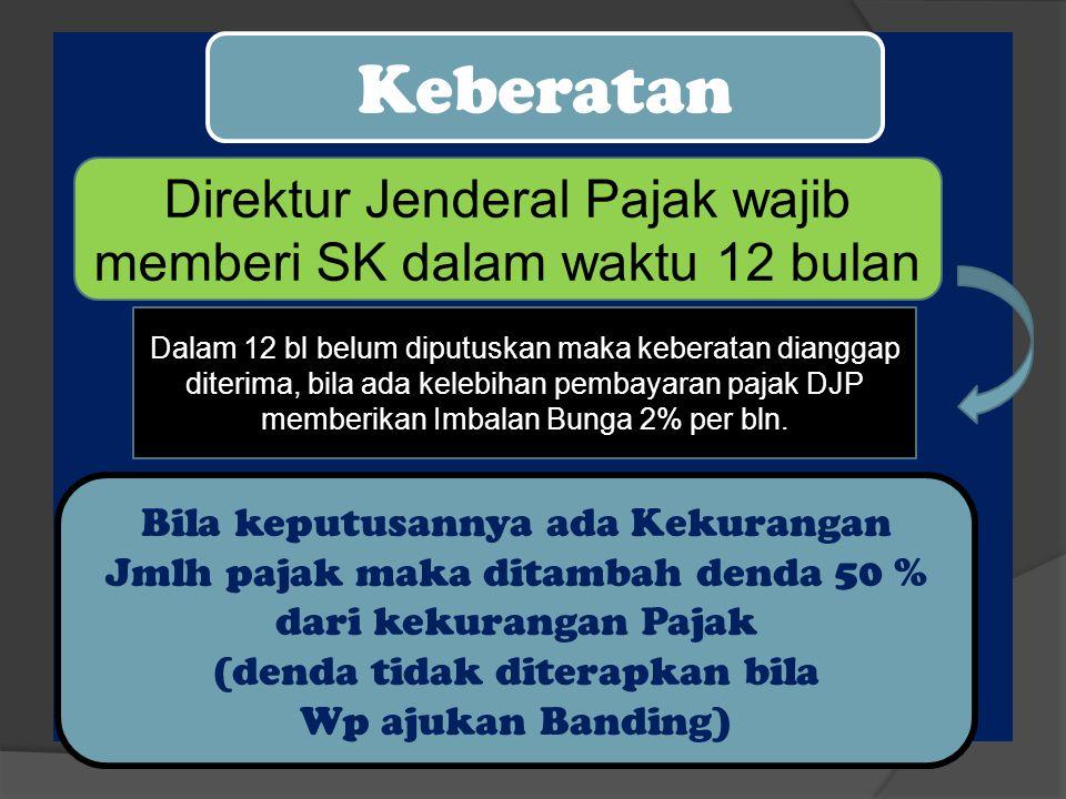 Keberatan Direktur Jenderal Pajak wajib memberi SK dalam waktu 12 bulan Bila keputusannya ada Kekurangan Jmlh pajak maka ditambah denda 50 % dari keku