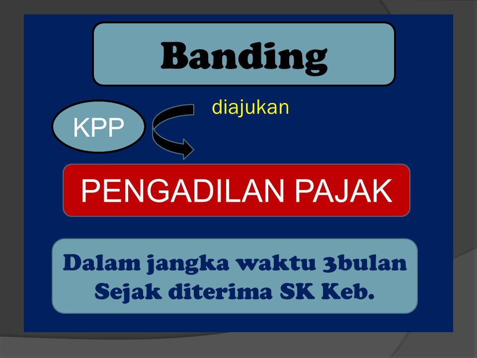 1.Tertulis dalam bhs.Indonesia 2.Terhadap 1 SK diajukan 1 Banding 3.Dalam waktu 3 bl sejak tgl terima SK 4.menyebutkan alasan Banding 5.menyampaikan perhitungan pajak menurut wp 6.wajib melunasi 50 % dari jumlah pajak terhutang.