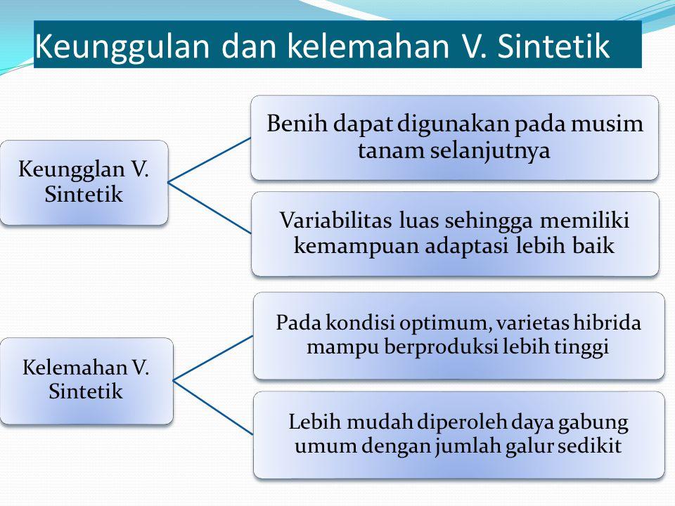 Keungglan V. Sintetik Benih dapat digunakan pada musim tanam selanjutnya Variabilitas luas sehingga memiliki kemampuan adaptasi lebih baik Kelemahan V