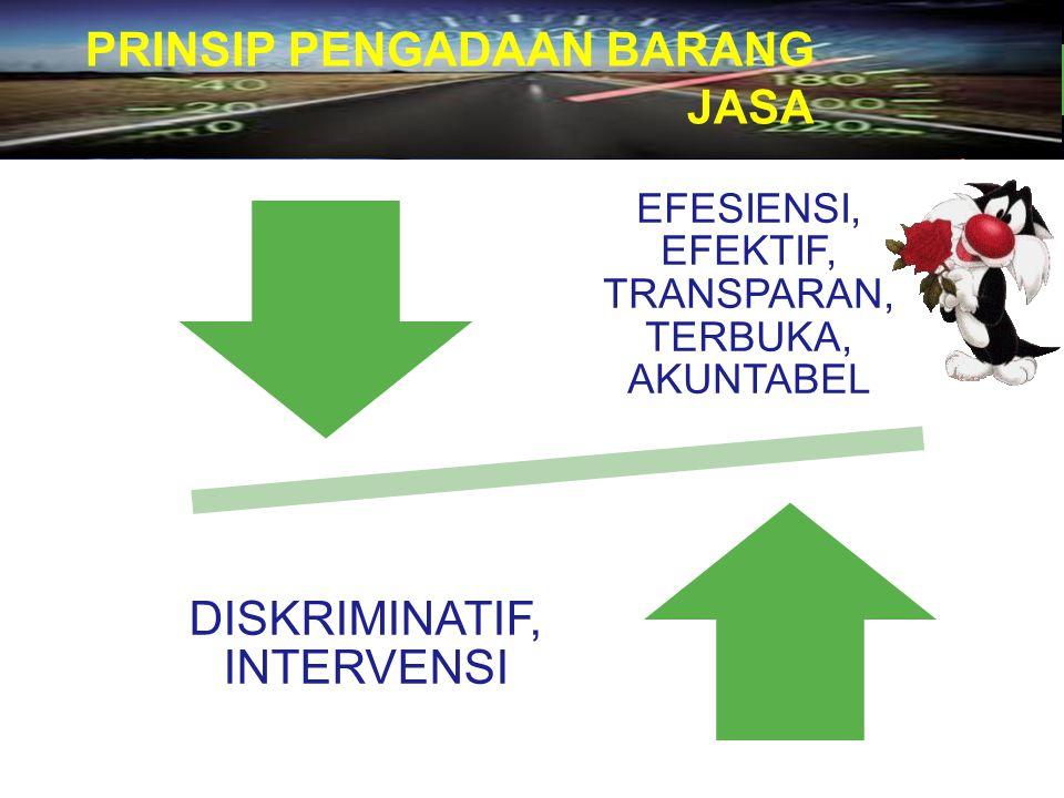 PRINSIP PENGADAAN BARANG JASA EFESIENSI, EFEKTIF, TRANSPARAN, TERBUKA, AKUNTABEL DISKRIMINATIF, INTERVENSI 3