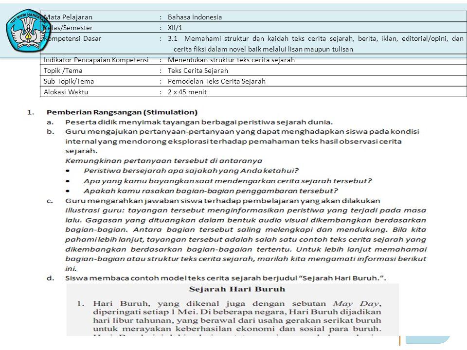 3 PELATIHAN IMPLEMENTASI KURIKULUM 2013 Mata Pelajaran:Bahasa Indonesia Kelas/Semester:XII/1 Kompetensi Dasar: 3.1 Memahami struktur dan kaidah teks c