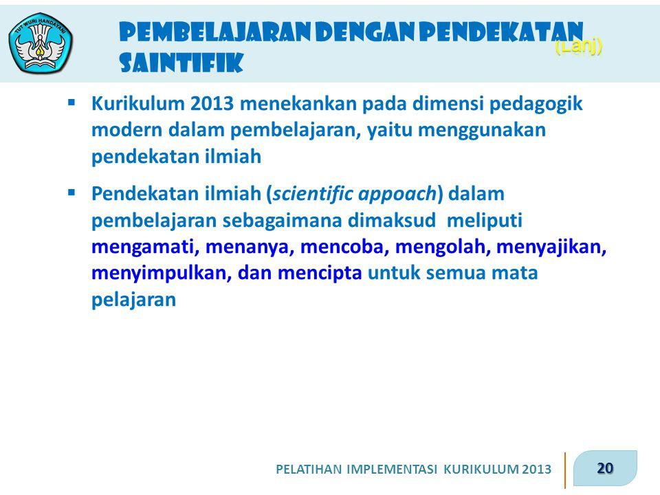 20 PELATIHAN IMPLEMENTASI KURIKULUM 2013 Pembelajaran dengan Pendekatan saintifik  Kurikulum 2013 menekankan pada dimensi pedagogik modern dalam pemb