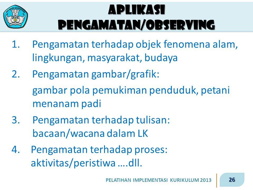26 PELATIHAN IMPLEMENTASI KURIKULUM 2013 Aplikasi Pengamatan/observing 1.Pengamatan terhadap objek fenomena alam, lingkungan, masyarakat, budaya 2.Pen