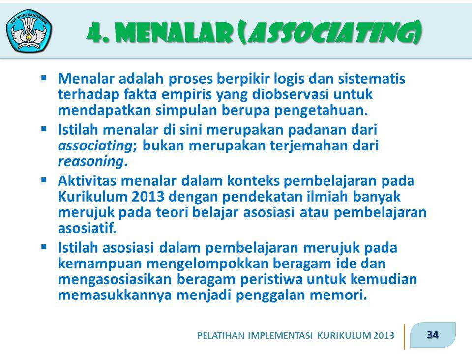 34 PELATIHAN IMPLEMENTASI KURIKULUM 2013 4. Menalar (associating)  Menalar adalah proses berpikir logis dan sistematis terhadap fakta empiris yang di