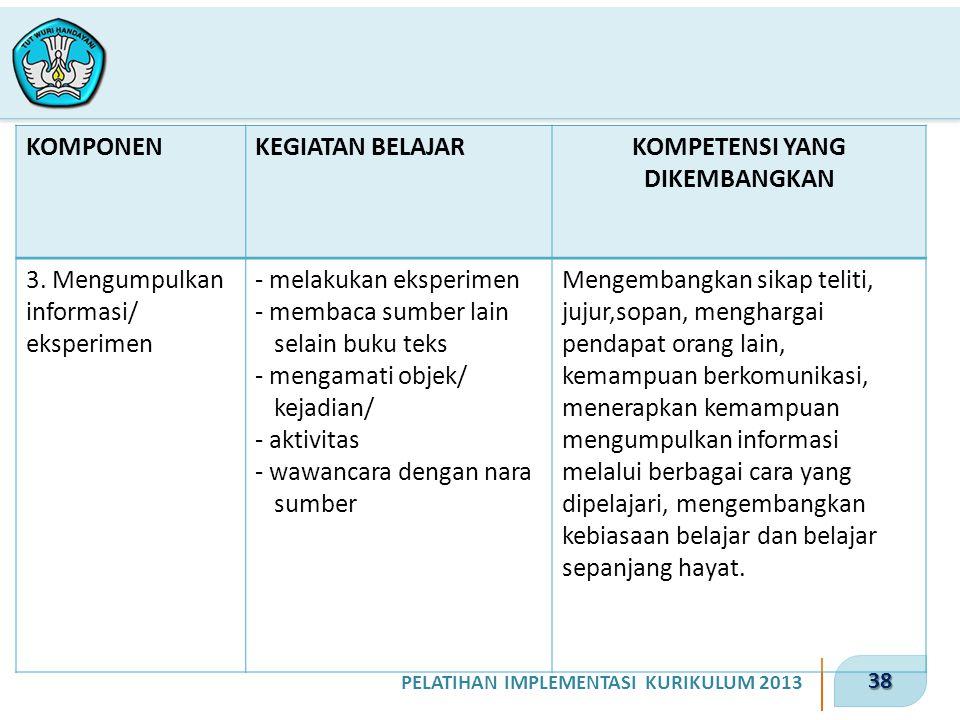 38 PELATIHAN IMPLEMENTASI KURIKULUM 2013 KOMPONENKEGIATAN BELAJARKOMPETENSI YANG DIKEMBANGKAN 3. Mengumpulkan informasi/ eksperimen - melakukan eksper