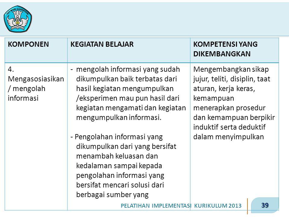 39 PELATIHAN IMPLEMENTASI KURIKULUM 2013 KOMPONENKEGIATAN BELAJARKOMPETENSI YANG DIKEMBANGKAN 4. Mengasosiasikan / mengolah informasi -mengolah inform