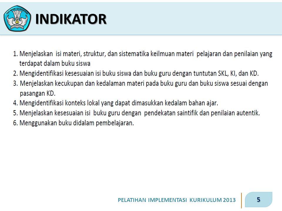 5 PELATIHAN IMPLEMENTASI KURIKULUM 2013 INDIKATOR