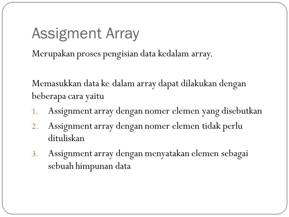 Assigment Array Merupakan proses pengisian data kedalam array.