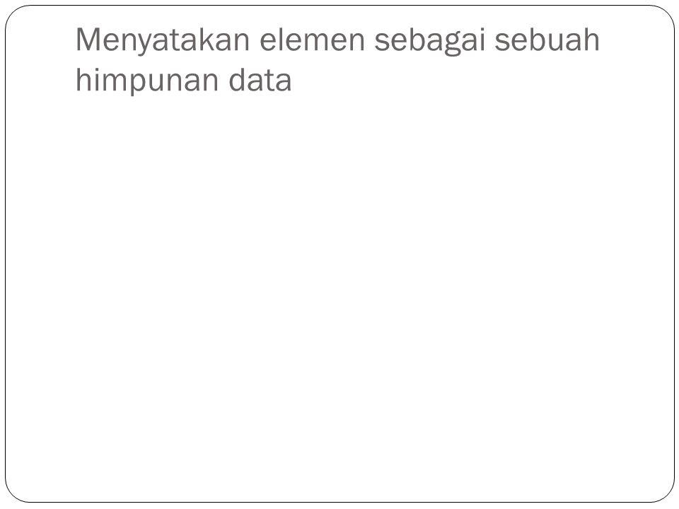 Menyatakan elemen sebagai sebuah himpunan data
