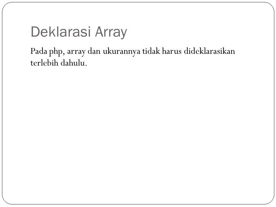 Deklarasi Array Pada php, array dan ukurannya tidak harus dideklarasikan terlebih dahulu.