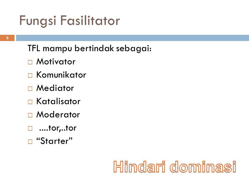 Fungsi Fasilitator 3 TFL mampu bertindak sebagai:  Motivator  Komunikator  Mediator  Katalisator  Moderator ....tor,..tor  Starter