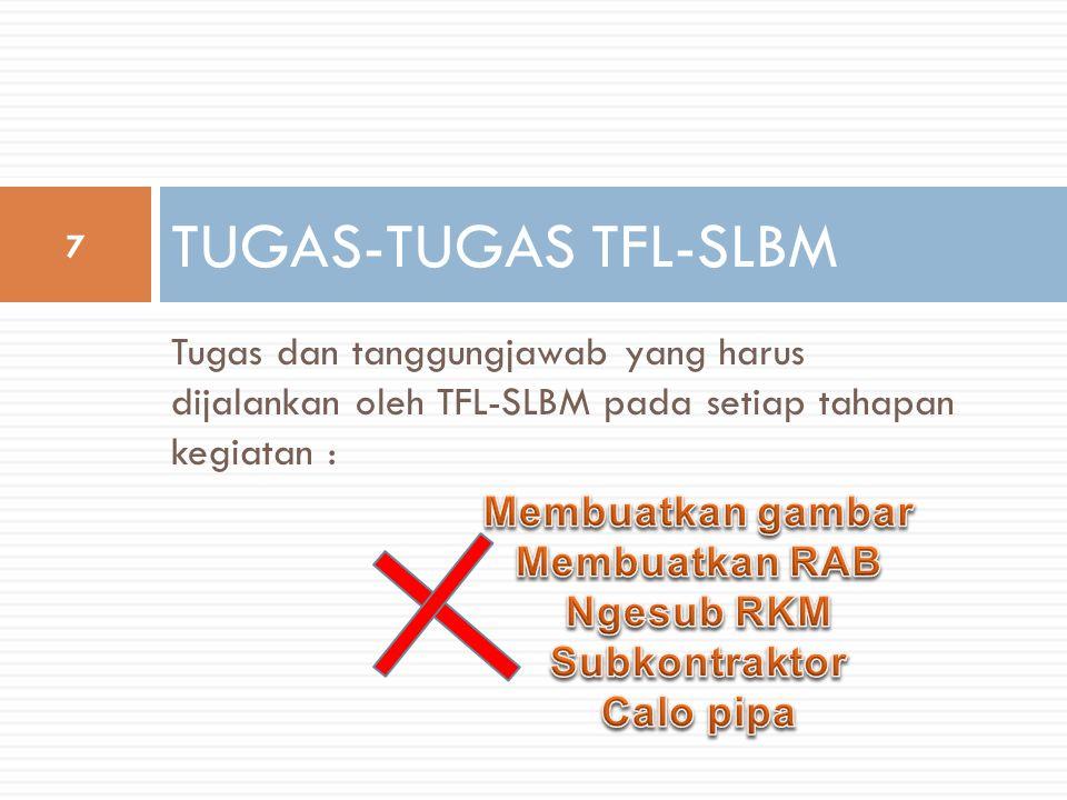 Tugas dan tanggungjawab yang harus dijalankan oleh TFL-SLBM pada setiap tahapan kegiatan : TUGAS-TUGAS TFL-SLBM 7