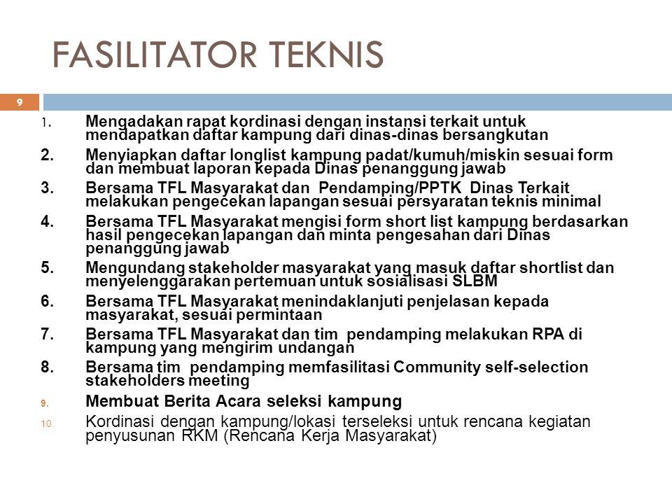 FASILITATOR TEKNIS 1. Mengadakan rapat kordinasi dengan instansi terkait untuk mendapatkan daftar kampung dari dinas-dinas bersangkutan 2.Menyiapkan d