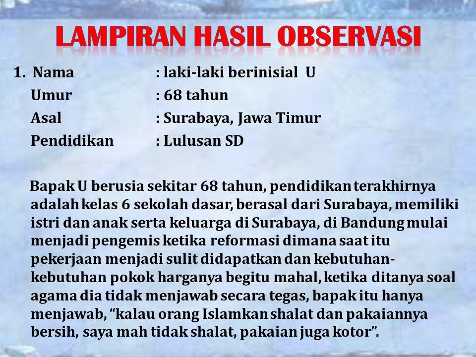 1. Nama: laki-laki berinisial U Umur: 68 tahun Asal: Surabaya, Jawa Timur Pendidikan: Lulusan SD Bapak U berusia sekitar 68 tahun, pendidikan terakhir