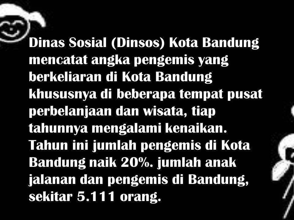 Dinas Sosial (Dinsos) Kota Bandung mencatat angka pengemis yang berkeliaran di Kota Bandung khususnya di beberapa tempat pusat perbelanjaan dan wisata