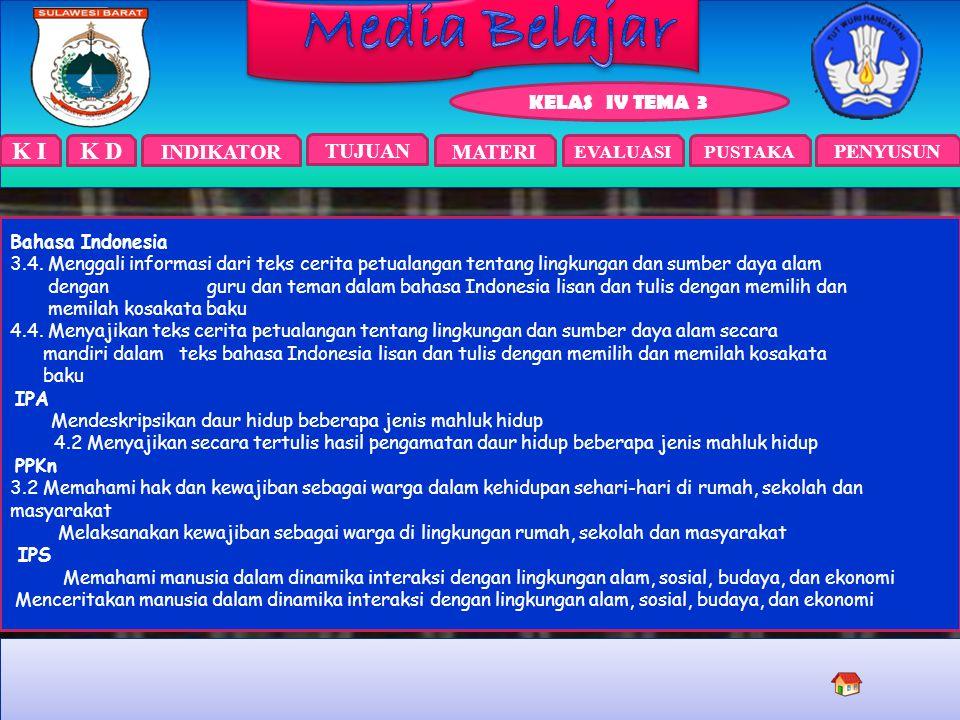 K I INDIKATOR TUJUAN EVALUASIPUSTAKA KELAS IV TEMA 3 PENYUSUN MATERI K D Bahasa Indonesia 3.4.