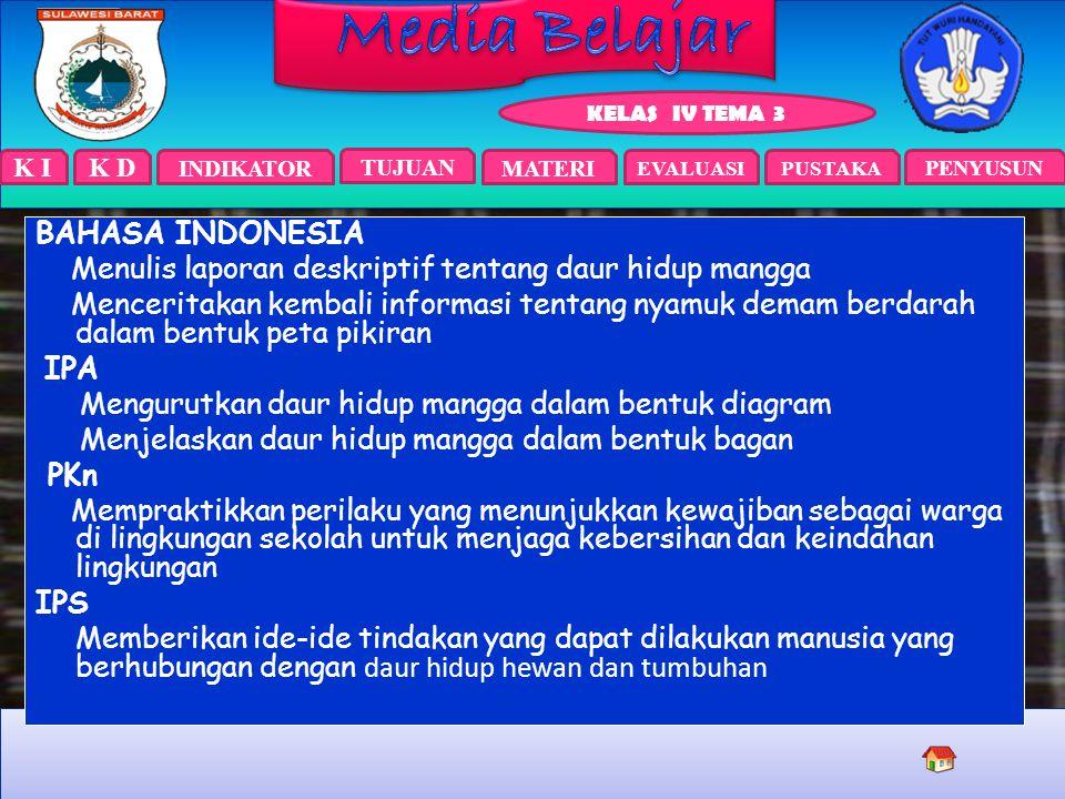 K I INDIKATOR TUJUAN EVALUASIPUSTAKA KELAS IV TEMA 3 PENYUSUN MATERI K D Bahasa Indonesia 3.4. Menggali informasi dari teks cerita petualangan tentang