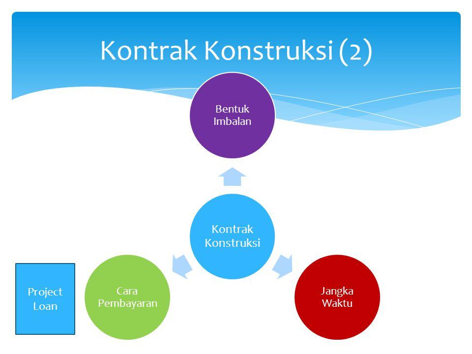 Kontrak Konstruksi (2) Kontrak Konstruksi Bentuk Imbalan Jangka Waktu Cara Pembayaran Project Loan