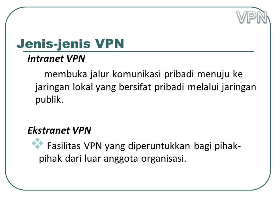 Jenis-jenis VPN Intranet VPN  membuka jalur komunikasi pribadi menuju ke jaringan lokal yang bersifat pribadi melalui jaringan publik.