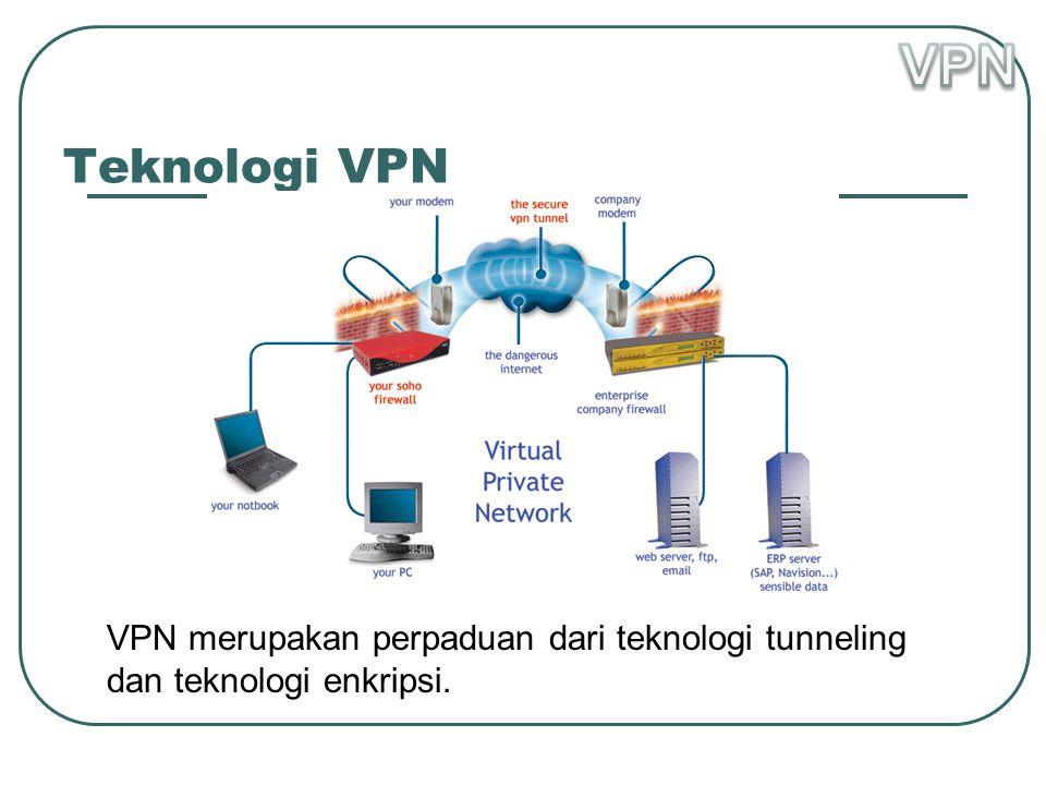 Teknologi VPN VPN merupakan perpaduan dari teknologi tunneling dan teknologi enkripsi.