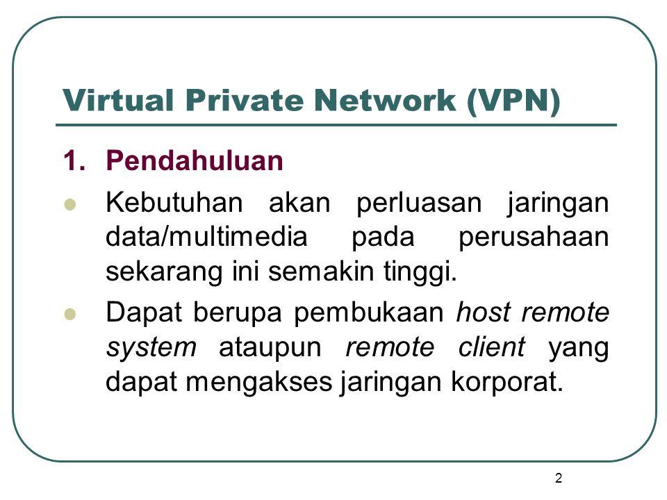2 Virtual Private Network (VPN) 1.Pendahuluan Kebutuhan akan perluasan jaringan data/multimedia pada perusahaan sekarang ini semakin tinggi.