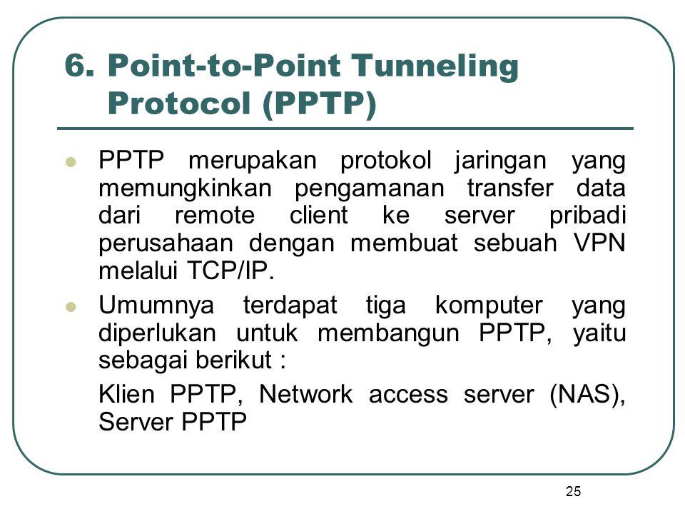 25 6.Point-to-Point Tunneling Protocol (PPTP) PPTP merupakan protokol jaringan yang memungkinkan pengamanan transfer data dari remote client ke server pribadi perusahaan dengan membuat sebuah VPN melalui TCP/IP.