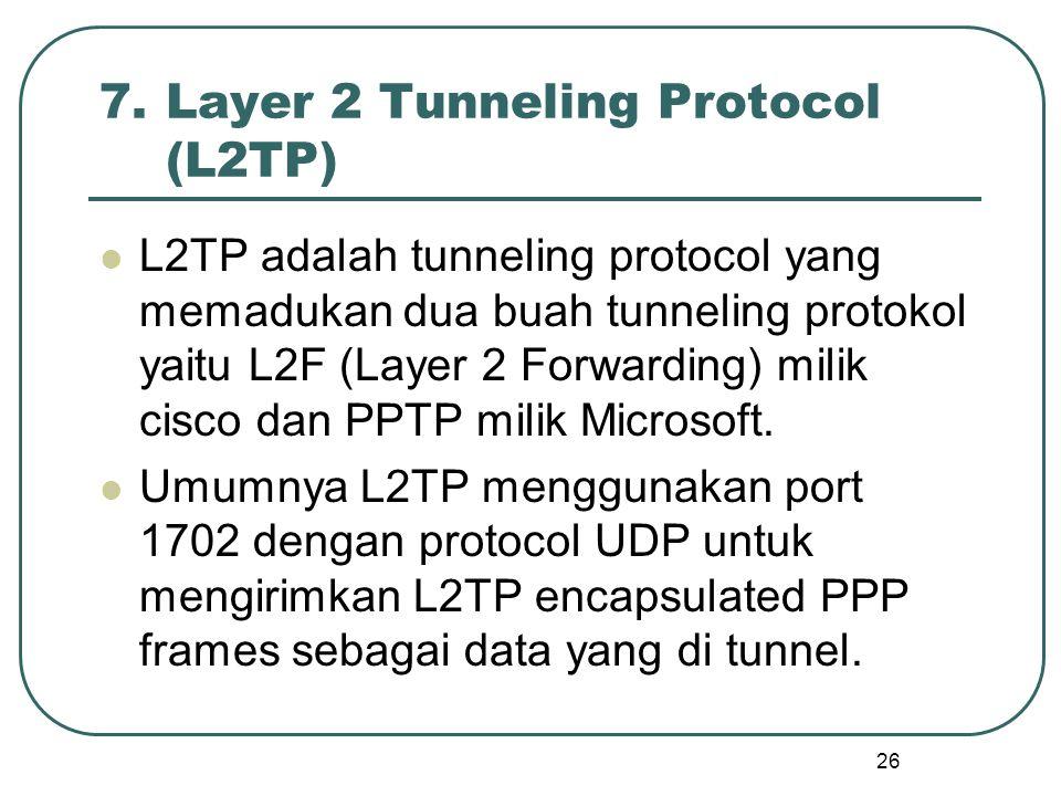 26 7.Layer 2 Tunneling Protocol (L2TP) L2TP adalah tunneling protocol yang memadukan dua buah tunneling protokol yaitu L2F (Layer 2 Forwarding) milik cisco dan PPTP milik Microsoft.