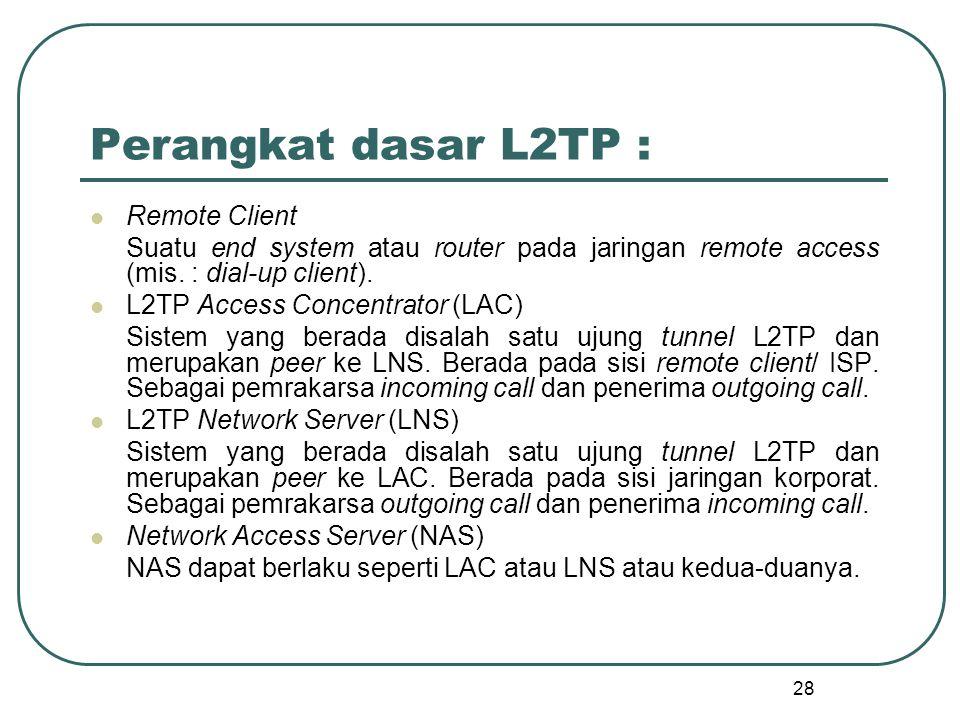 28 Perangkat dasar L2TP : Remote Client Suatu end system atau router pada jaringan remote access (mis.
