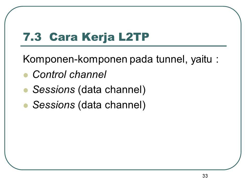 33 7.3 Cara Kerja L2TP Komponen-komponen pada tunnel, yaitu : Control channel Sessions (data channel)