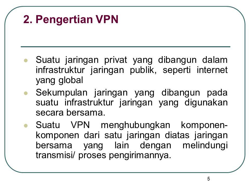 5 2. Pengertian VPN Suatu jaringan privat yang dibangun dalam infrastruktur jaringan publik, seperti internet yang global Sekumpulan jaringan yang dib