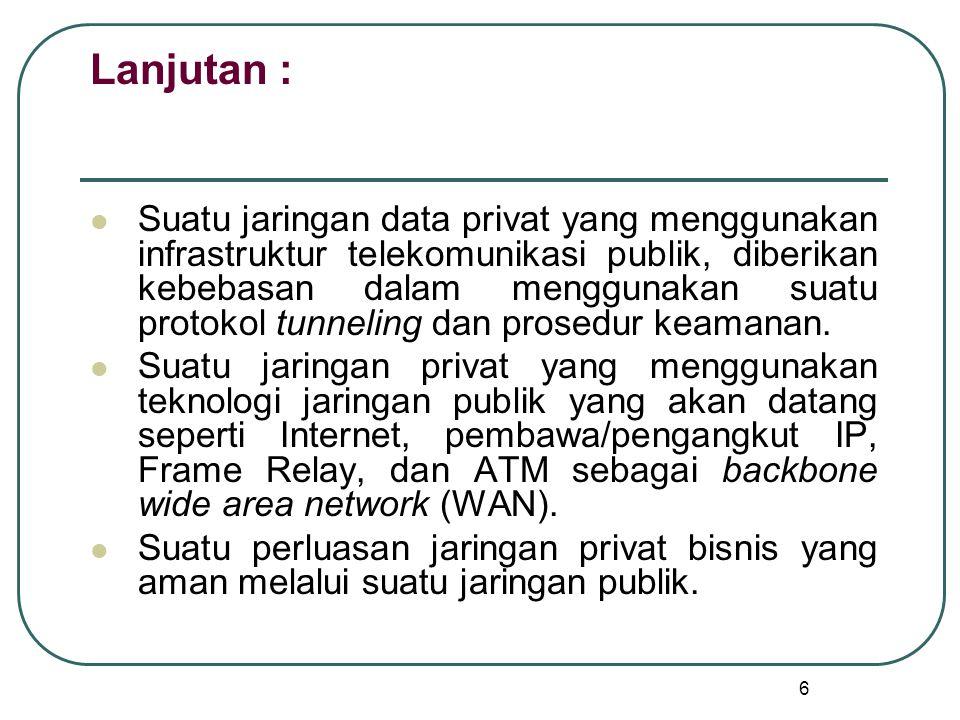 6 Lanjutan : Suatu jaringan data privat yang menggunakan infrastruktur telekomunikasi publik, diberikan kebebasan dalam menggunakan suatu protokol tunneling dan prosedur keamanan.