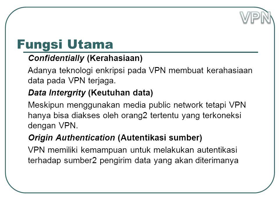 Fungsi Utama Confidentially (Kerahasiaan) Adanya teknologi enkripsi pada VPN membuat kerahasiaan data pada VPN terjaga.