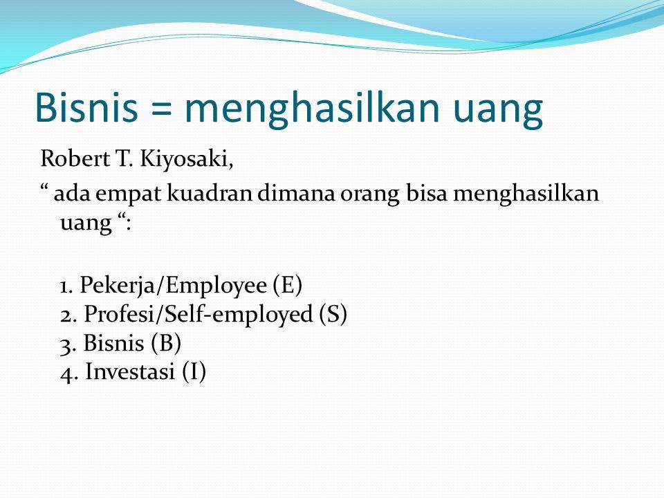 """Bisnis = menghasilkan uang Robert T. Kiyosaki, """" ada empat kuadran dimana orang bisa menghasilkan uang """": 1. Pekerja/Employee (E) 2. Profesi/Self-empl"""