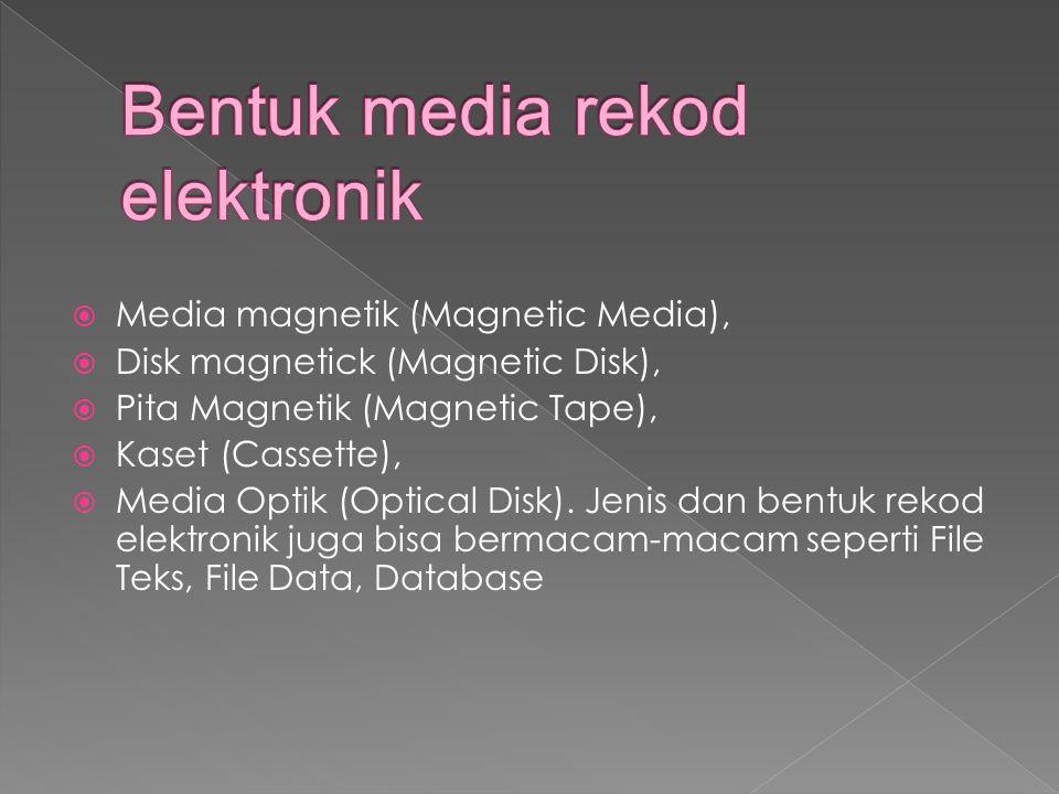  Media magnetik (Magnetic Media),  Disk magnetick (Magnetic Disk),  Pita Magnetik (Magnetic Tape),  Kaset (Cassette),  Media Optik (Optical Disk).