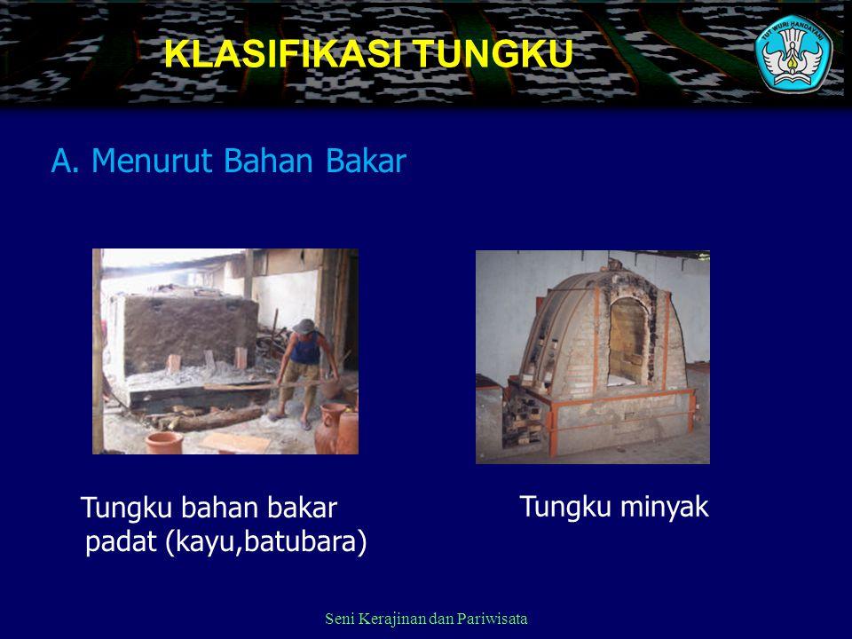 Seni Kerajinan dan Pariwisata KLASIFIKASI TUNGKU A. Menurut Bahan Bakar Tungku minyak Tungku bahan bakar padat (kayu,batubara)