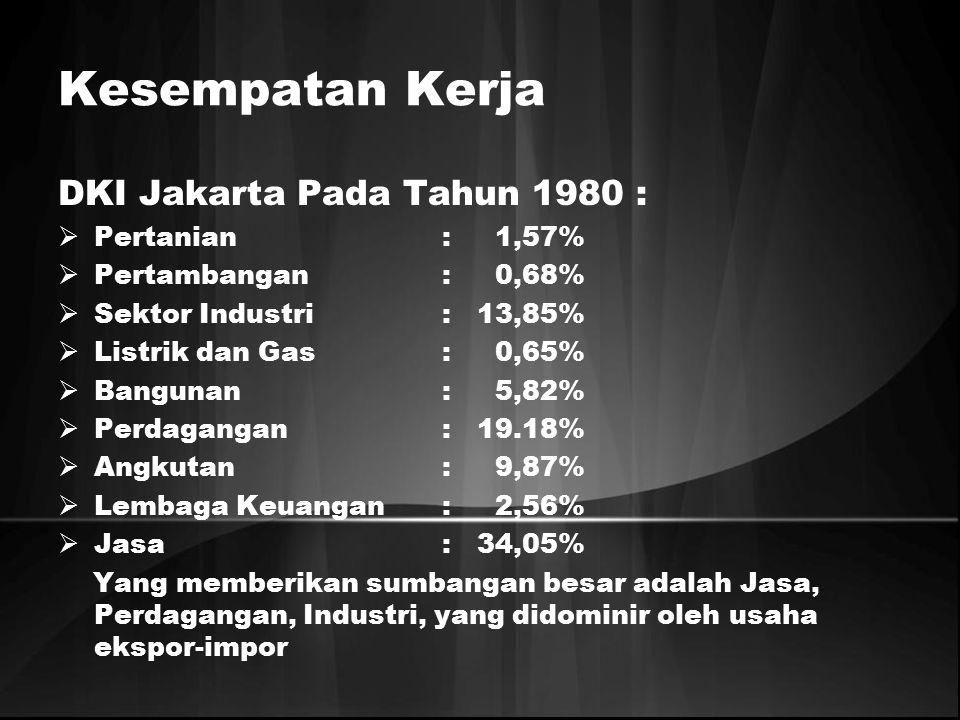 Kesempatan Kerja DKI Jakarta Pada Tahun 1980 :  Pertanian: 1,57%  Pertambangan: 0,68%  Sektor Industri: 13,85%  Listrik dan Gas: 0,65%  Bangunan: