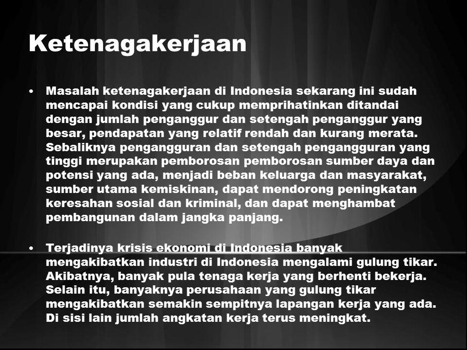 Ketenagakerjaan Masalah ketenagakerjaan di Indonesia sekarang ini sudah mencapai kondisi yang cukup memprihatinkan ditandai dengan jumlah penganggur d