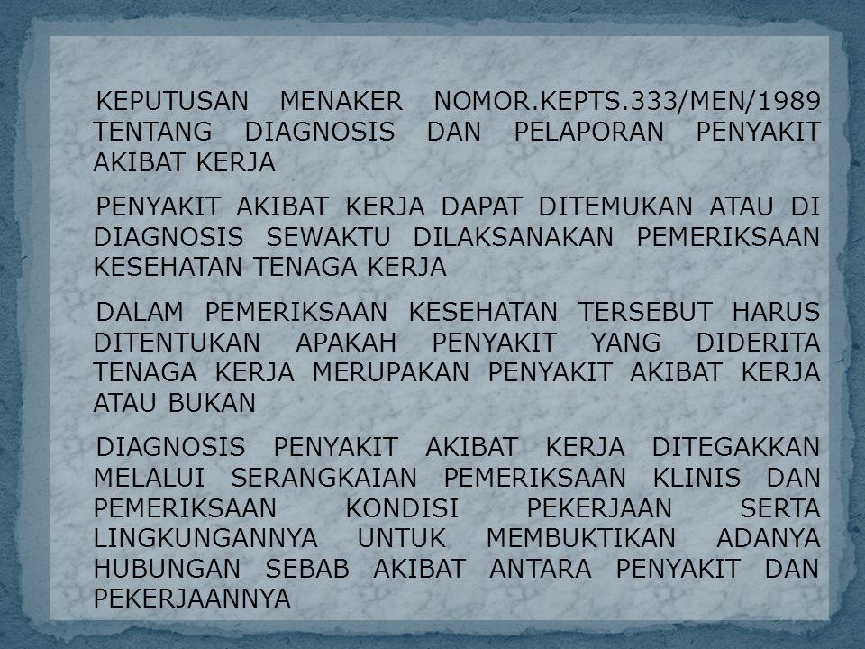 KEPUTUSAN MENAKER NOMOR.KEPTS.333/MEN/1989 TENTANG DIAGNOSIS DAN PELAPORAN PENYAKIT AKIBAT KERJA PENYAKIT AKIBAT KERJA DAPAT DITEMUKAN ATAU DI DIAGNOSIS SEWAKTU DILAKSANAKAN PEMERIKSAAN KESEHATAN TENAGA KERJA DALAM PEMERIKSAAN KESEHATAN TERSEBUT HARUS DITENTUKAN APAKAH PENYAKIT YANG DIDERITA TENAGA KERJA MERUPAKAN PENYAKIT AKIBAT KERJA ATAU BUKAN DIAGNOSIS PENYAKIT AKIBAT KERJA DITEGAKKAN MELALUI SERANGKAIAN PEMERIKSAAN KLINIS DAN PEMERIKSAAN KONDISI PEKERJAAN SERTA LINGKUNGANNYA UNTUK MEMBUKTIKAN ADANYA HUBUNGAN SEBAB AKIBAT ANTARA PENYAKIT DAN PEKERJAANNYA