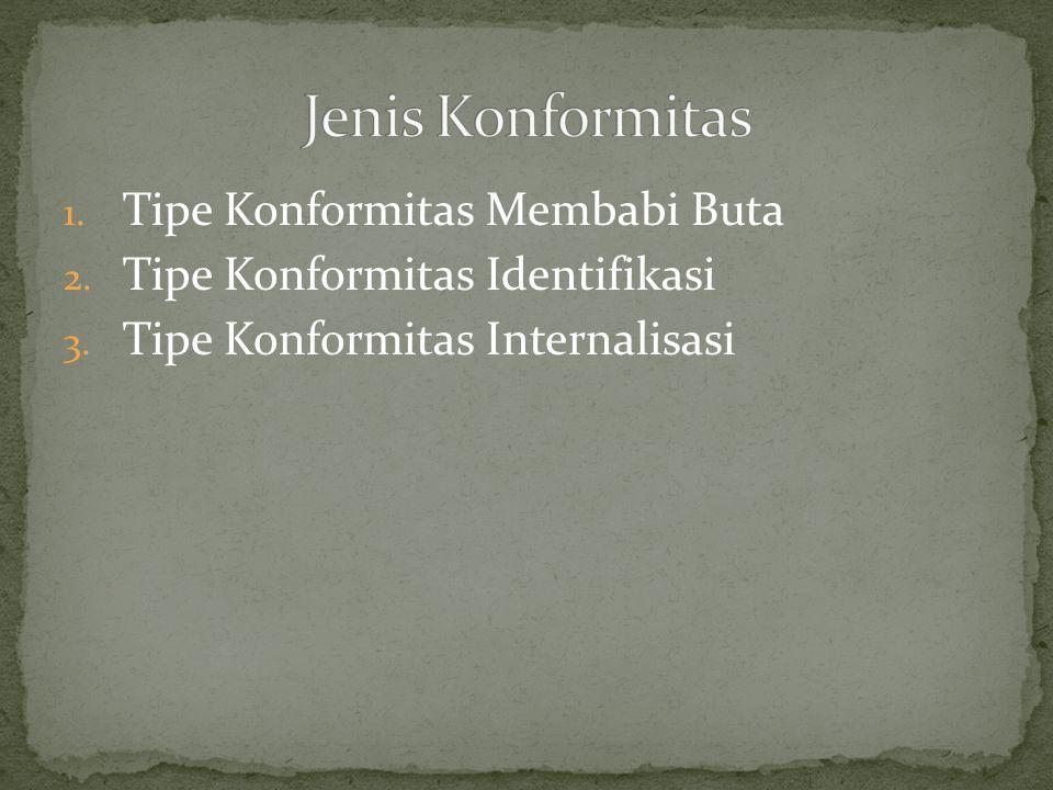 1. Tipe Konformitas Membabi Buta 2. Tipe Konformitas Identifikasi 3. Tipe Konformitas Internalisasi