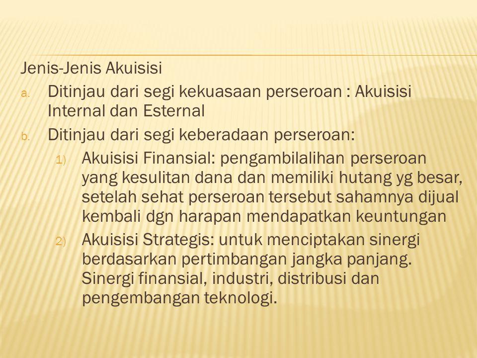 Jenis-Jenis Akuisisi a.Ditinjau dari segi kekuasaan perseroan : Akuisisi Internal dan Esternal b.