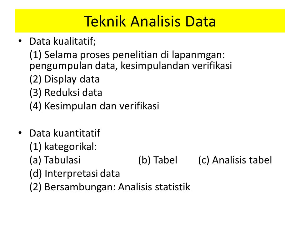 Teknik Analisis Data Data kualitatif; (1) Selama proses penelitian di lapanmgan: pengumpulan data, kesimpulandan verifikasi (2) Display data (3) Reduk