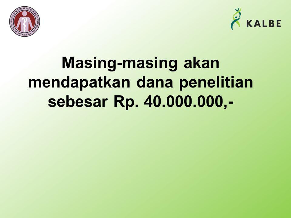 Masing-masing akan mendapatkan dana penelitian sebesar Rp. 40.000.000,-