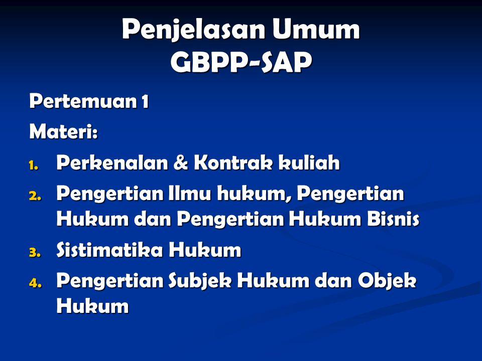 Penjelasan Umum GBPP-SAP Pertemuan 1 Materi: 1. Perkenalan & Kontrak kuliah 2. Pengertian Ilmu hukum, Pengertian Hukum dan Pengertian Hukum Bisnis 3.