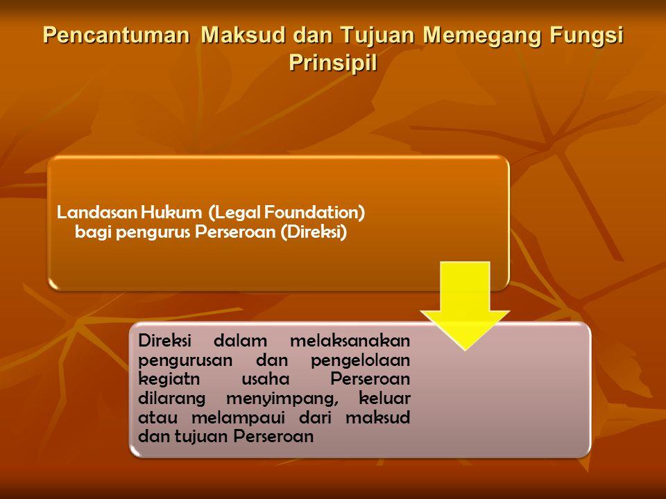 Pencantuman Maksud dan Tujuan Memegang Fungsi Prinsipil Landasan Hukum (Legal Foundation) bagi pengurus Perseroan (Direksi) Direksi dalam melaksanakan