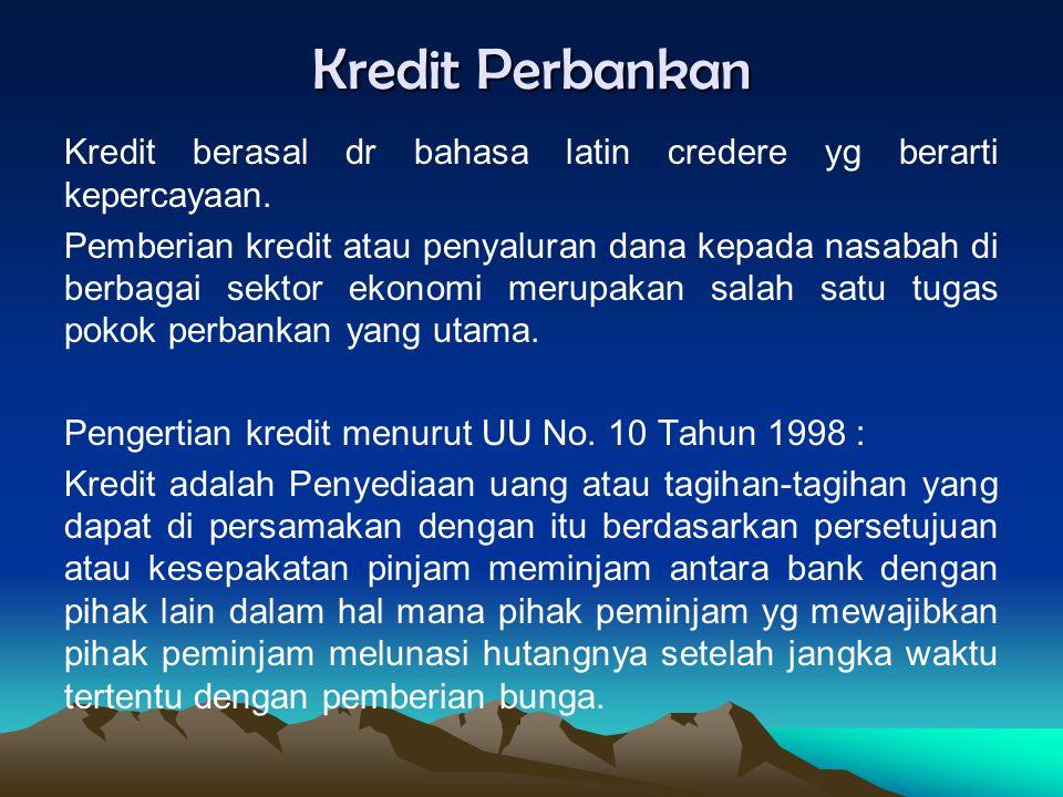 Kredit Perbankan Kredit berasal dr bahasa latin credere yg berarti kepercayaan. Pemberian kredit atau penyaluran dana kepada nasabah di berbagai sekto