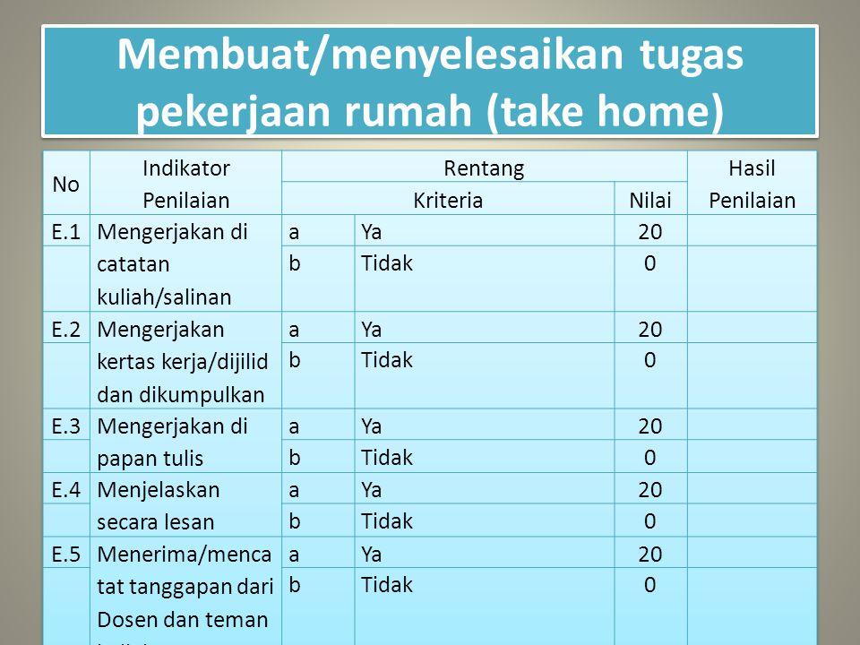 Membuat/menyelesaikan tugas pekerjaan rumah (take home)
