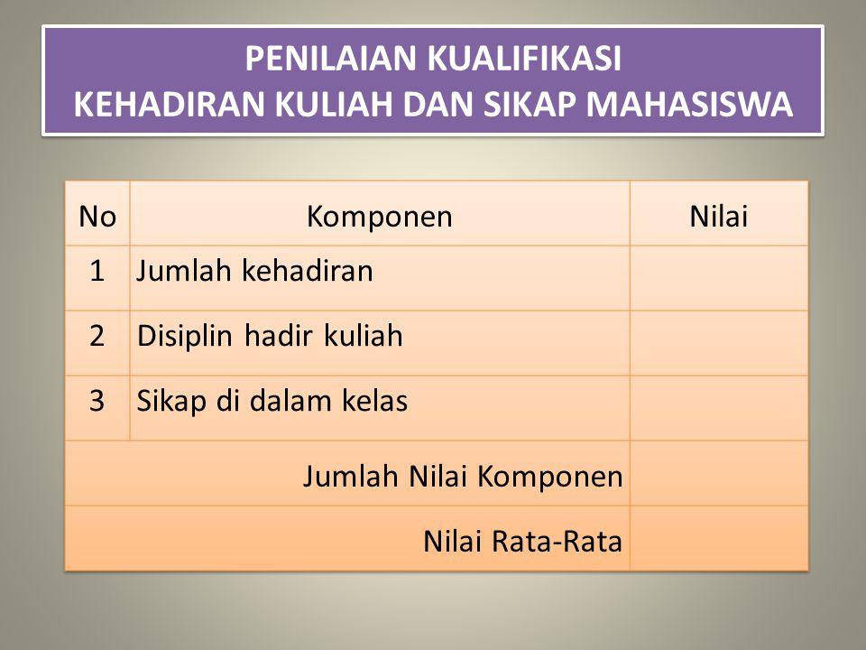 PENILAIAN KUALIFIKASI KEHADIRAN KULIAH DAN SIKAP MAHASISWA