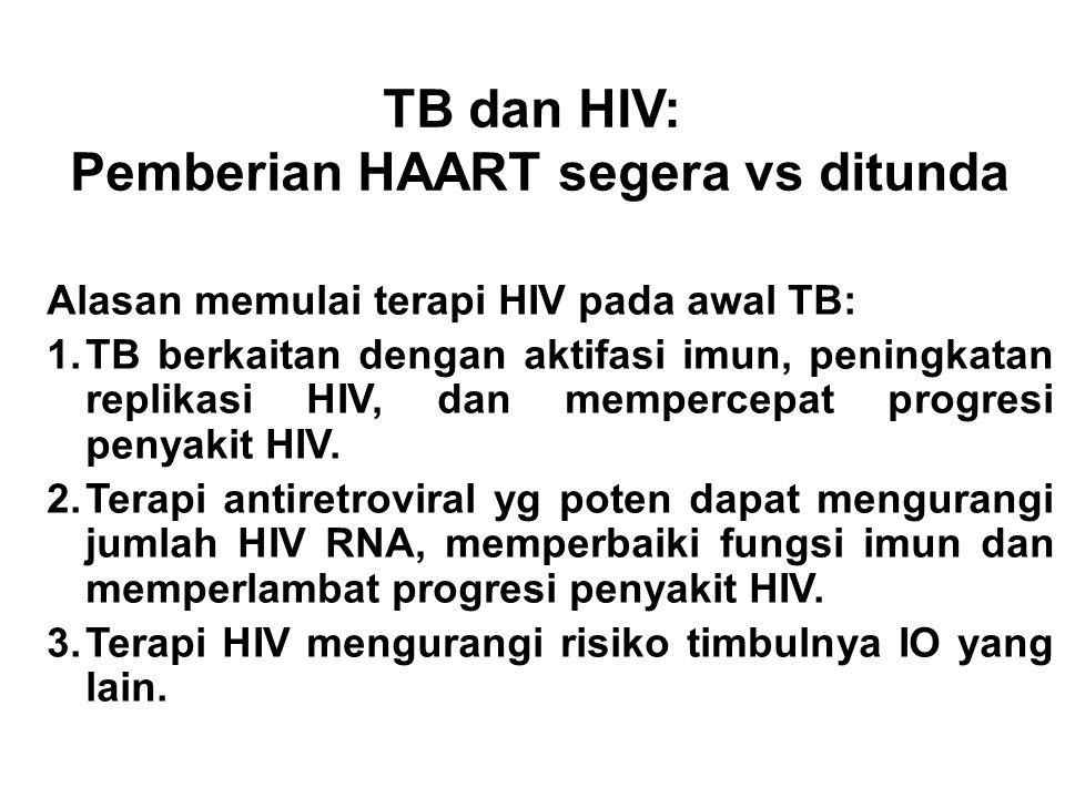 TB dan HIV Pemberian HAART segera vs ditunda Alasan menunda terapi HIV sampai TB diobati: 1.HIV merupakan penyakit kronis. 2.Adherence dapat bermasala